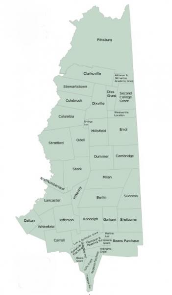 Drawing of Map of Coos County with towns labeled by name