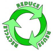 Circle made up of 3 arrows with words Reduce, Reuse, Recycle